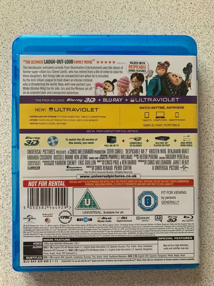 Despicable me 2 3D, Blu-ray, animation