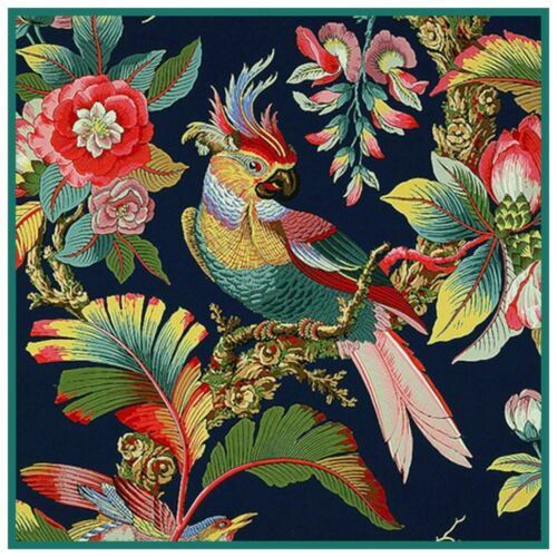 Art Nouveau Parrot Bird Tropical Foliage Counted Cross Stitch Pattern