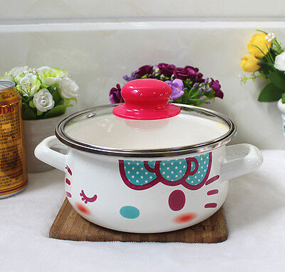 "Cute Hello Kitty Kitchen Supplies Enamel Milk Saucepan Girl Gift 6.3/"" Blue White"