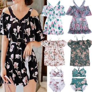 NEW-Women-Floral-Print-Sundress-One-piece-Tankini-Swim-Dress-Swimsuit-Bikini-Set