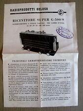 Ricevitore Super G-500/S Scheda tecnica e schema - orginale anni 60  [AF25]