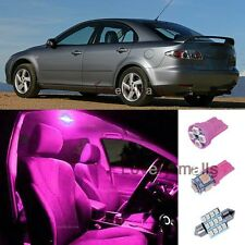 8pc Pink Dome/Door/Tag Lights Car Interior LED Package Kit For 2003-2008 Mazda 6
