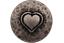 Argent Antique Métal Boutons LÉGÈREMENT Courbé avec cœur Motif 15 mm 6 pièces