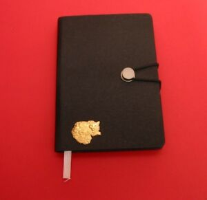 Long-Haired-Cat-Gold-Plated-Motif-A6-Black-Soft-Touch-Journal-Christmas-Gift
