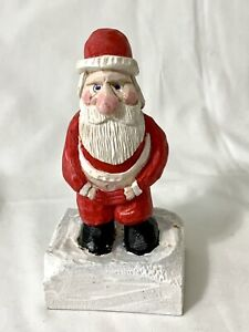 Vintage Hand Carved Wood Santa Claus Pulling Up Pants with Butt Showing Figurine