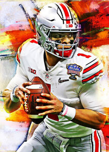 2021 Justin Fields Ohio State Football 7/25 Art ACEO Sketch Print Card By:Q