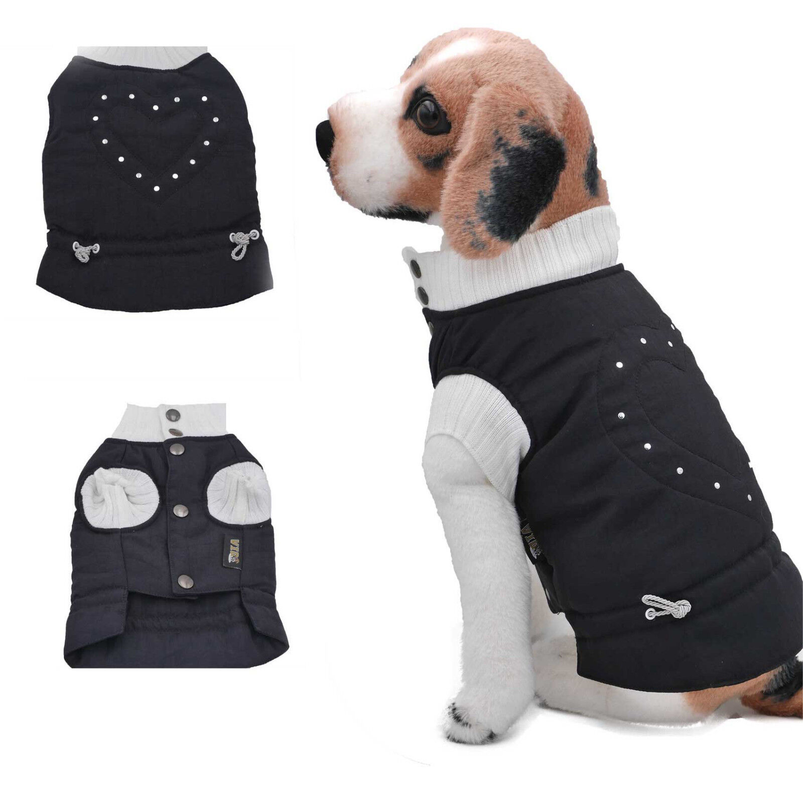 Hunde Winter Mantel Steppweste Dogi Fashion exklusiv schwarz Herzilein   | Economy