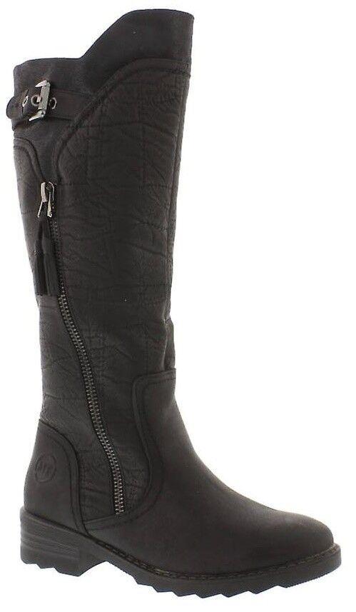 Marco Tozzi Damen weiches Flussmittel Leder Stiefel alt Kombi schwarz lange Stiefel Leder 056007