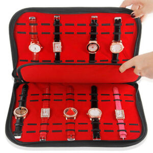 20 Slots/Grids Watch Case with Zipper Velvet Wristwatch Display Storage Box IH