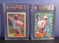 Joe Montana Bgs 9 1981 216 Jerry Rice 1986 161 Topps Rc Card Lot - 9.5 Centering