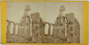 Stéréo, Sicile, Palerme, ruine et statue de Sainte-Rosalie sur le Mont Pellegrin