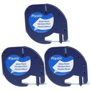 91201 91221 Compatible DYMO LetraTag LT-100 XR White Plastic Label Tape 3PK
