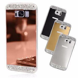 Coque-telephone-fine-silicone-TPU-brillante-effet-miroir-bling-strass-cristaux