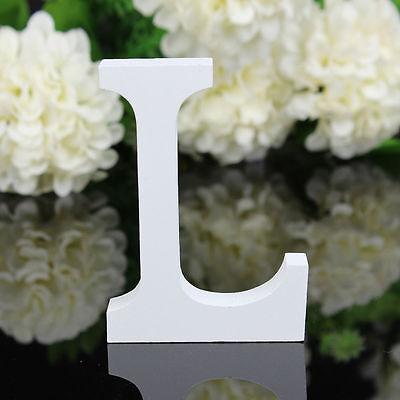 8cmX1.2cm thick Wood Wooden White Letters Alphabet Wedding  Birthday Home Decor