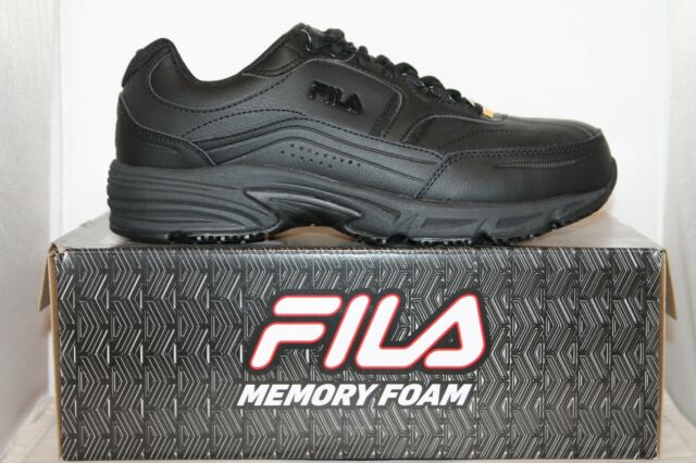 5b9944aecedb Mens Fila Memory Foam Workshift STEEL TOE Slip Resistant Work Shoes Black