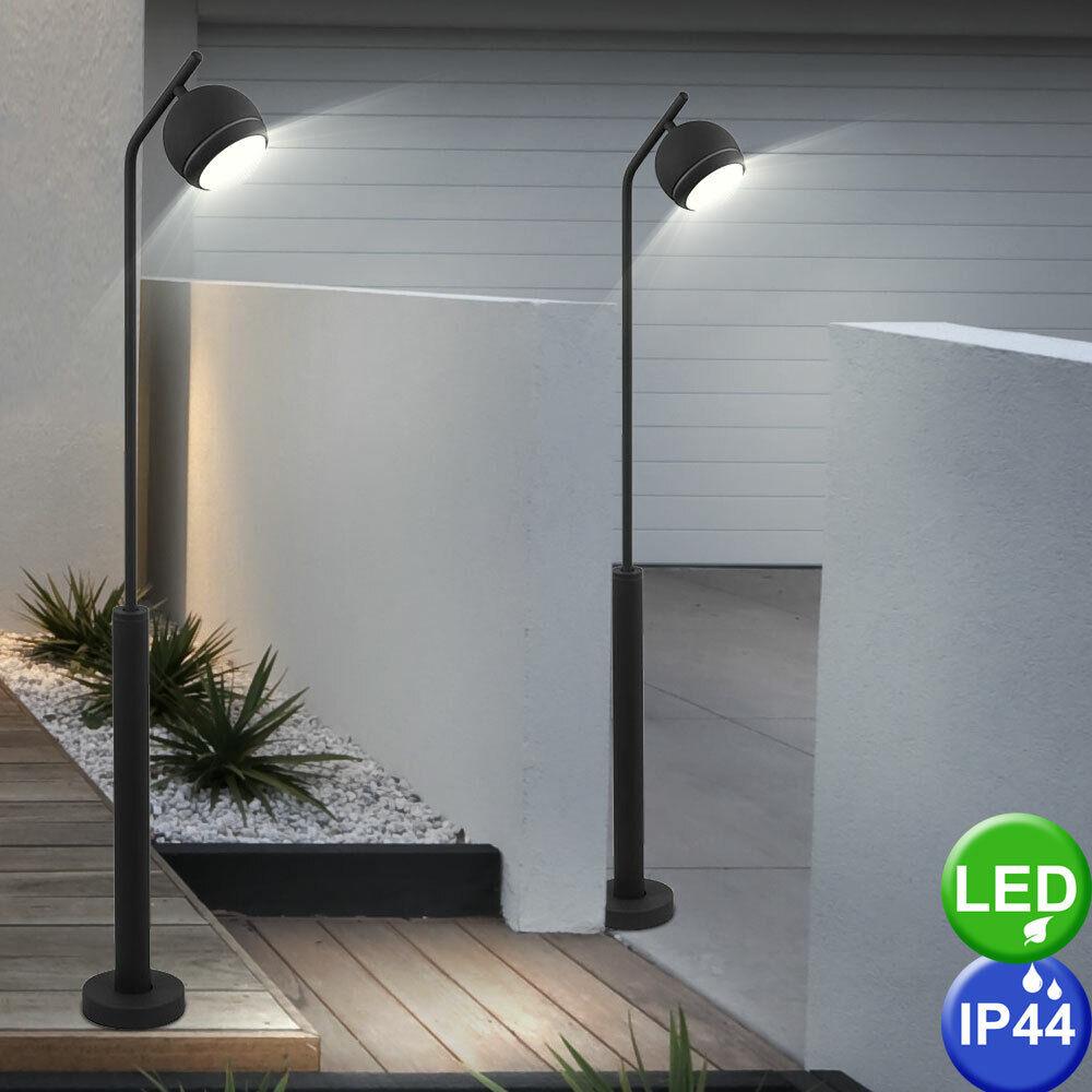 2er Set de lujo LED exterior lámparas de pie bola luminarias terrazas emisor negro