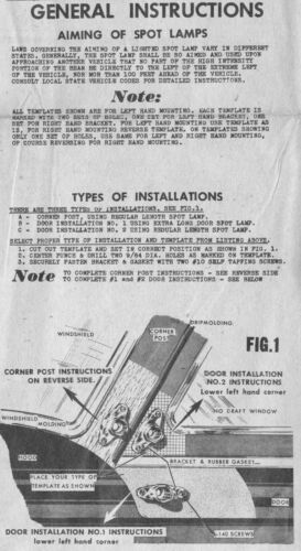 1942 Ford Appleton Spotlight Mounting Template /& Instructions