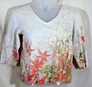 Chicos-Additions-2-knit-top-womens-beige-floral-pullover-V-neck-3-4-sleeves-nice