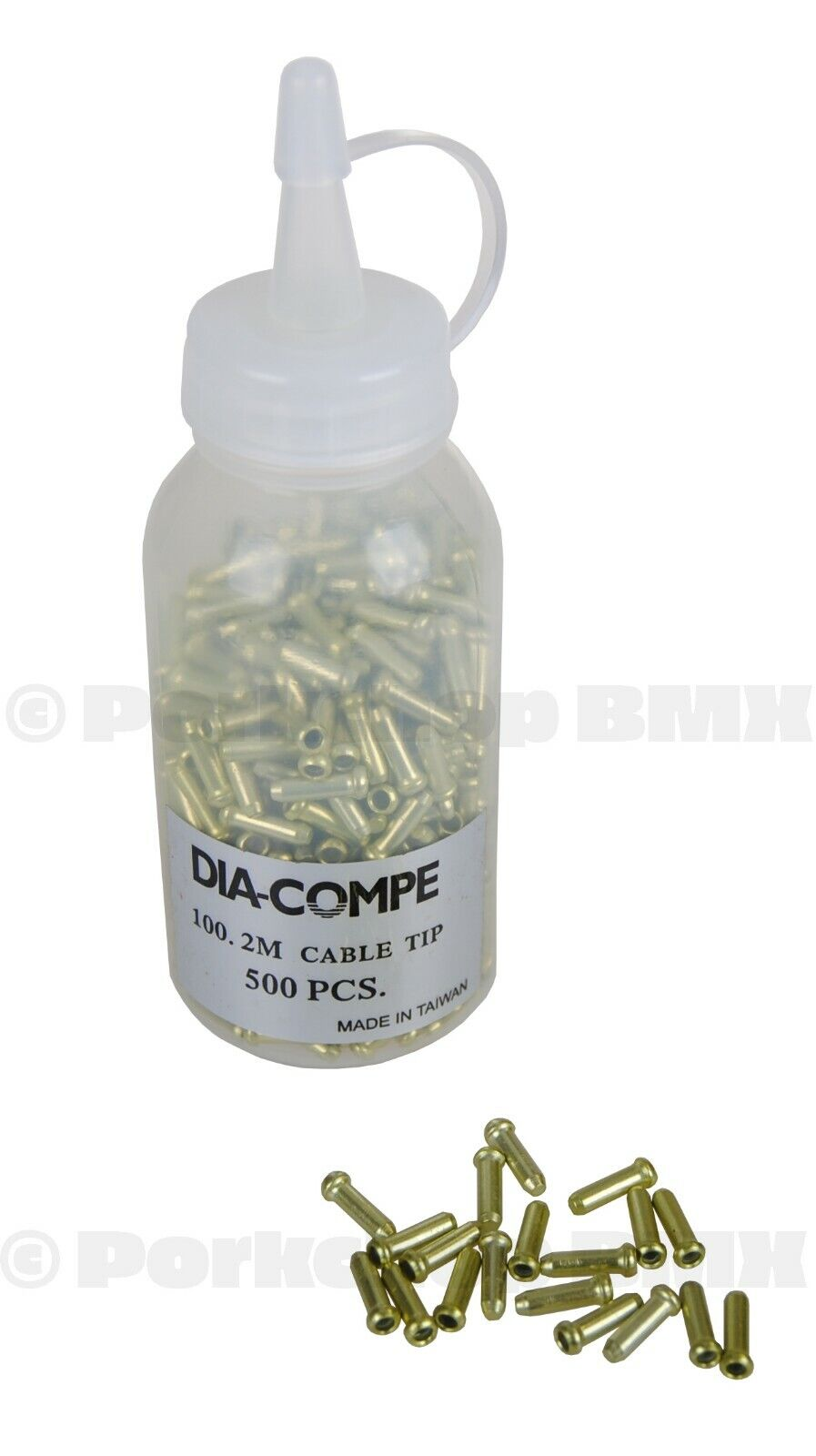 Dia-Compe bicycle brake cable end crimps tips GREEN ANODIZED BOTTLE OF 500