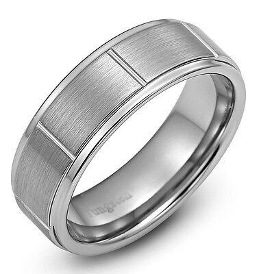 Tungsten Carbide Gery Men Wedding Band Wedding Ring Never Tarnish M1