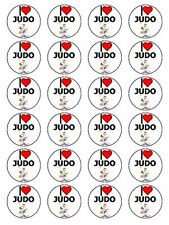 "x24 1.5"" I Love Judo Japanese Martial Art Cupcake Topper On Edible Rice Paper"
