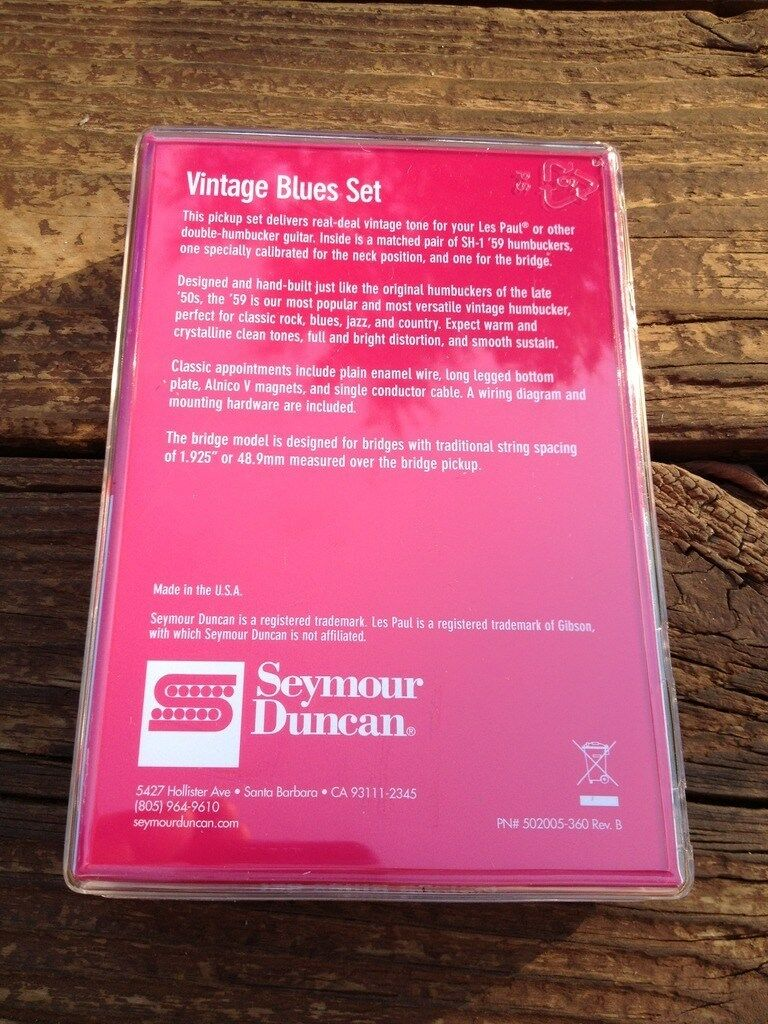Seymour Duncan Sh 1 Vintage Blues Electric Guitar Pickup Set W More Whole Lotta Humbucker Wiring Diagram Extras Ebay