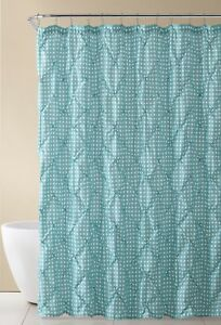Image Is Loading Aqua Blue And White Fabric Shower Curtain Farmhouse