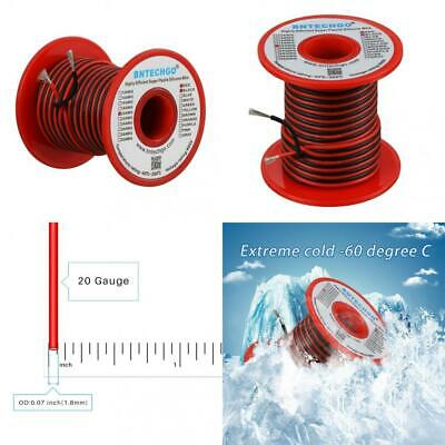 BNTECHGO 20 Gauge Silicone Wire Spool 50 feet Ultra Flexible High Temp 200 deg C 600V 20 AWG Silicone Wire 100 Strands of Tinned Copper Wire 25 ft Black and 25 ft Red Stranded Wire for Model