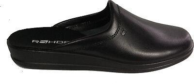 ROHDE Schuhe Pantoletten Latschen schwarz echt Leder Fußbett NEU