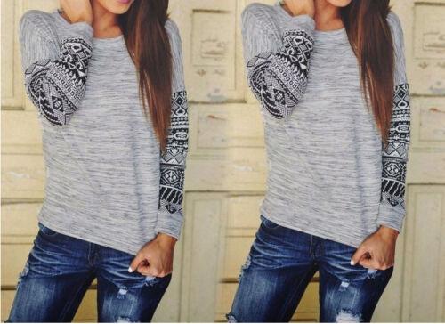 Damen Longsleeve Bluse Langarmshirt Used Look Print Metallic-Effek 100/%Baumwolle