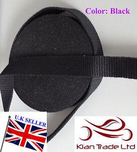 25mm-2-5cm-Lona-negra-Reforzado-Algodon-Grueso-correas-de-cinta-Bolsa-Cinturon