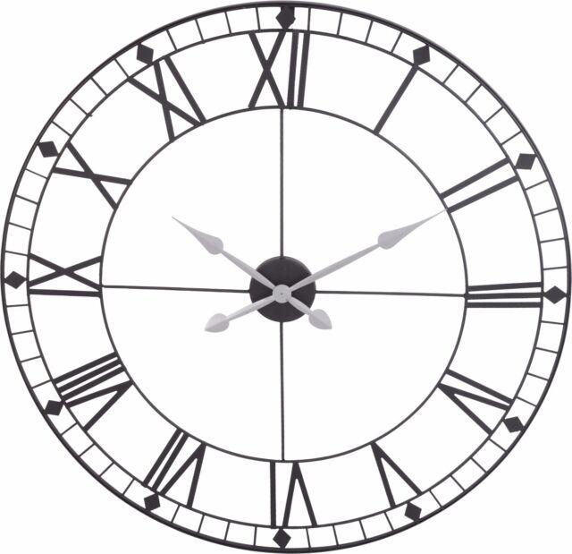 Stunning Extra Large 88cm Black Metal Wall Clock Skeleton