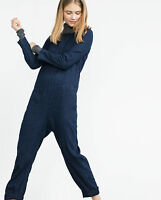 Zara Dark Blue Denim Jumpsuit With Long Sleeves And Side Pockets