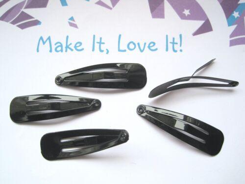 5 x JET BLACK COATED 40MM HAIR CLIP BLANKS Jewelery Making Findings SNAP Slides
