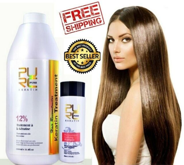 12 Pure Brazilian Keratin Hair Straightening Treatment Blow Dry 1000ml 33 8 Oz For Sale Online Ebay