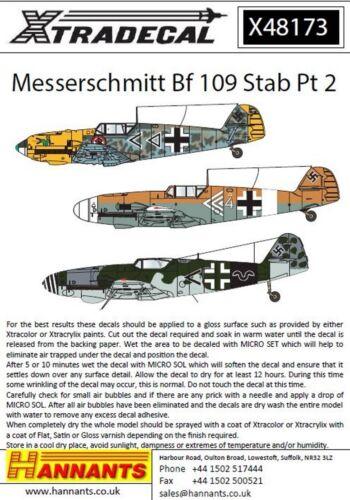 Xtradecal X48173 1:48 Messerschmitt Bf-109s avec stab marques PT 2