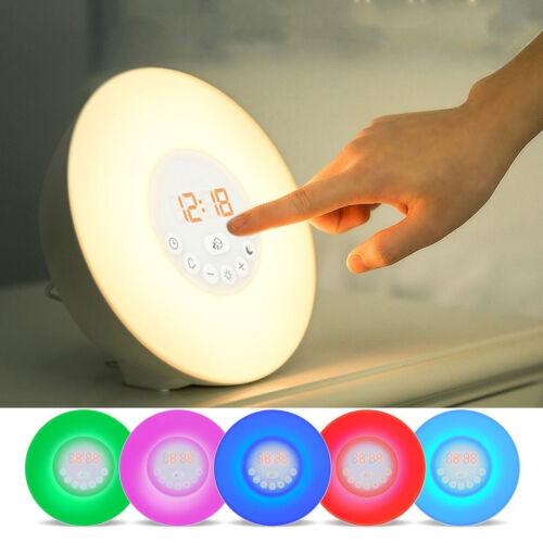 7 Colors Sunrise Alarm Clock Wake-up Light LED FM Radio Bedside Night Lamp