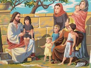 Paint-by-Number-PBN-Vtg-Orig-Jesus-Christ-With-Children-1963-Craftint-Oil-24x18