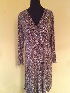 9d3fac3245890 V-neck Faux Wrap Dress Black White Tan Gray Ladies XL NWOT Kasper ...