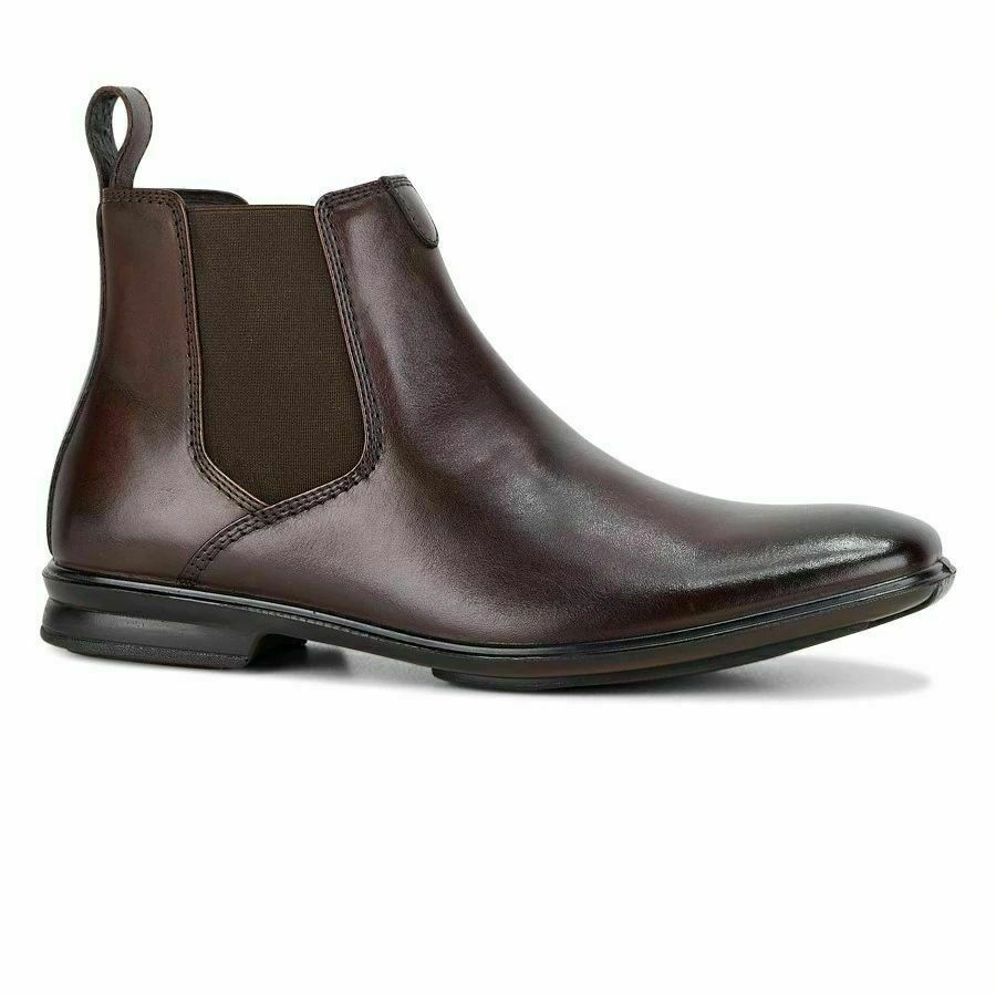 Mens Hush Puppies Chelsea Extra Wide Mahogany Leather Work Slip On Boots