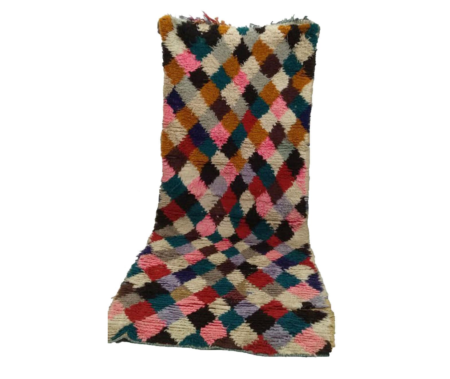 Boucherouite rug 3x7 ft. Moroccan Berber vintage rug Morocco azilal Handmade rug