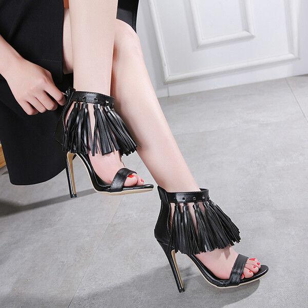 Sandale stiletto eleganti tacco 12 cm nero frange simil pelle eleganti 1151