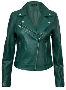 a4900f8ea8b7 Ladies Leather Jacket Classic Biker Style Green Real Leather Womens ...