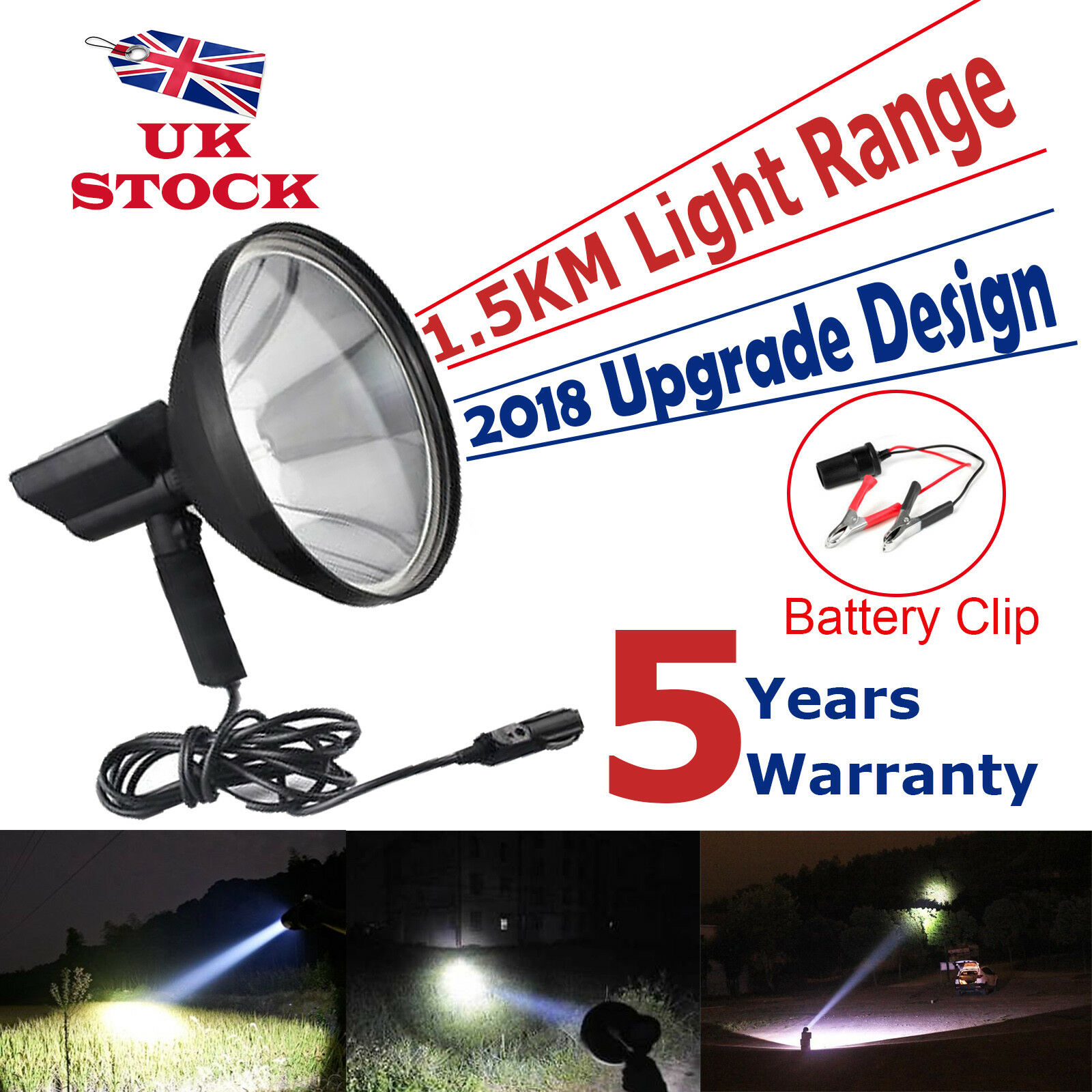 Upgrade Hand Held Hunting Lamp Spot Light HID 260W 240mm Driving Fishing Camping