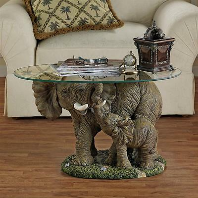 "Design Toscano Hand Painted 18"" Elephant's Majesty Glass-Topped Cocktail Table"