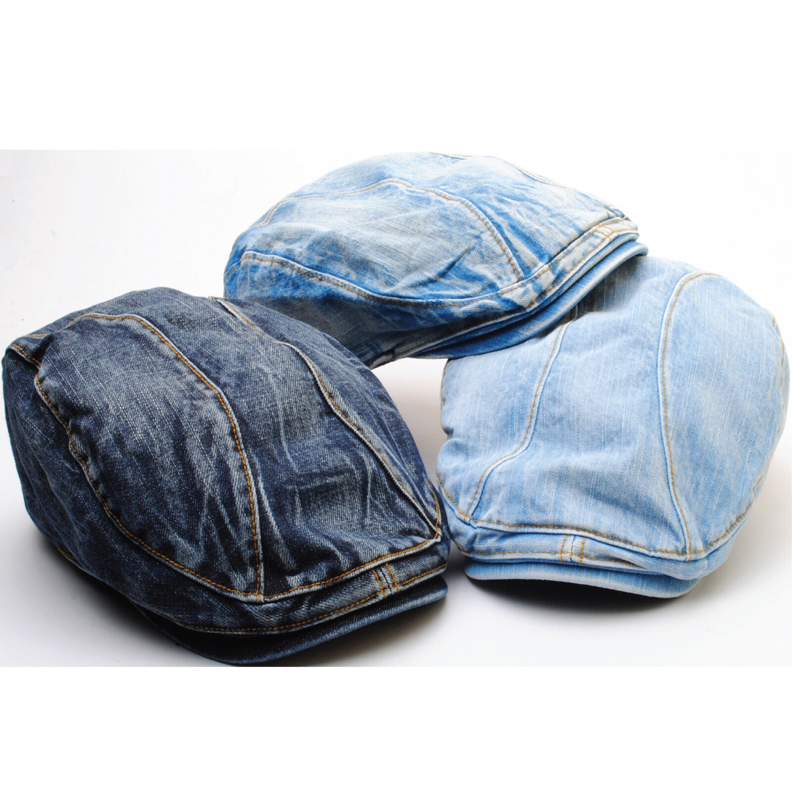 9791d4757 N65 Distressed Washed Denim Newsboy Biker Jeans Feel Cap Cabbie Gatsby  Beret Hat