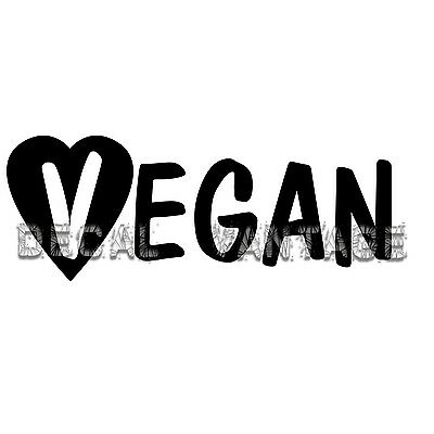 Vegan Text Heart Vinyl Sticker Decal Vegitarian - Choose Size & Color