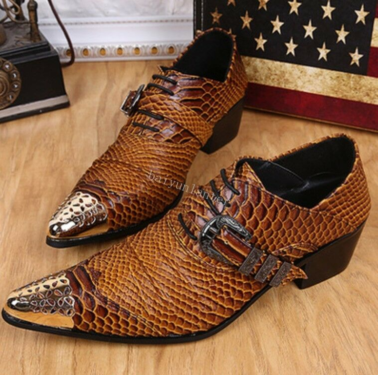 New Mens Metal Pointed Toe Snakeskin Punk Hidden Heels Real Leather Formal shoes