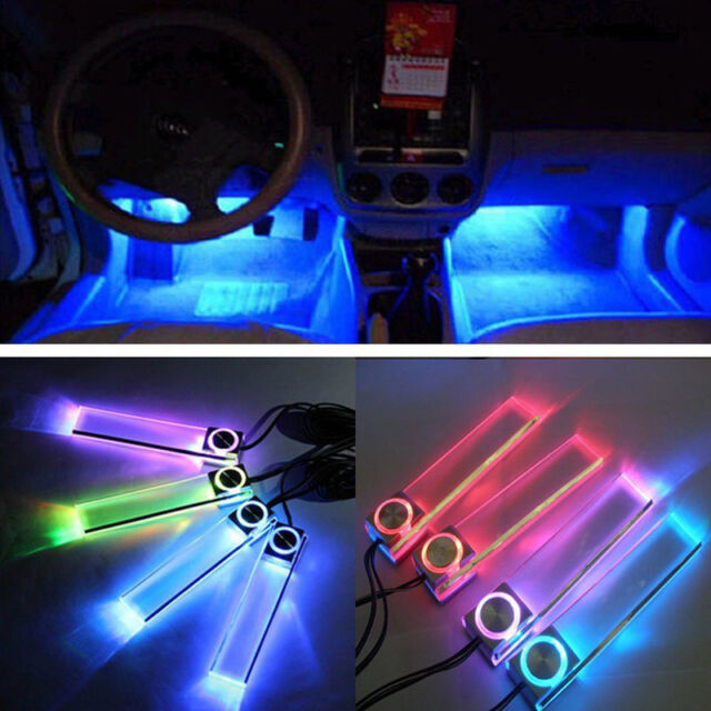 12V 4 in 1 Car Charge LED Interior Decoration Floor Colors Colorful Light Lamp