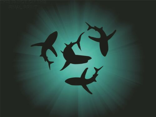 ART PRINT POSTER PAINTING CIRCLING SHARK SILHOUETTES BLUE GREEN SEA LFMP0991